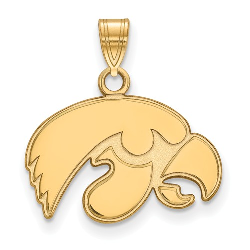 University of Iowa Tigerhawk Pendant 1/2in 10k Yellow Gold