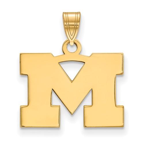 10kt Yellow Gold 1/2in University of Michigan M Pendant