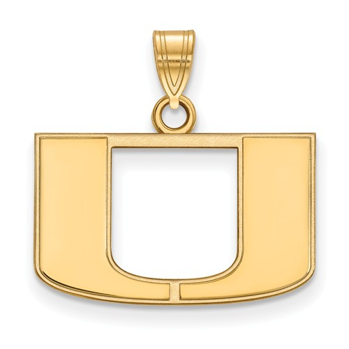 10kt Yellow Gold 1/2in University of Miami U Logo Pendant