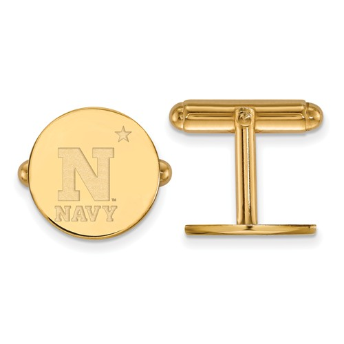 US Naval Aacademy NAVY Round Cuff Links 14k Yellow Gold