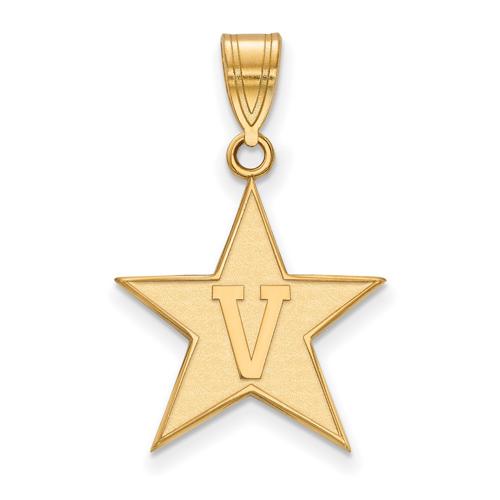 Vanderbilt University Star Pendant 3/4in 10k Yellow Gold