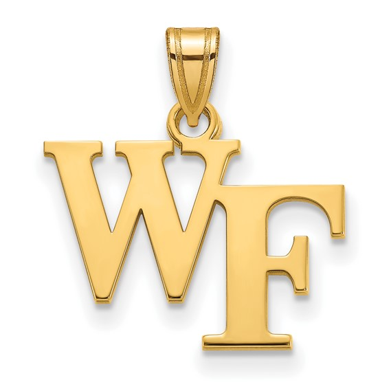 Wake Forest University WF Pendant 1/2in 14k Yellow Gold