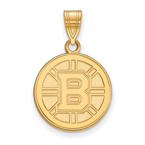 14k Yellow Gold 5/8in Boston Bruins Round Pendant