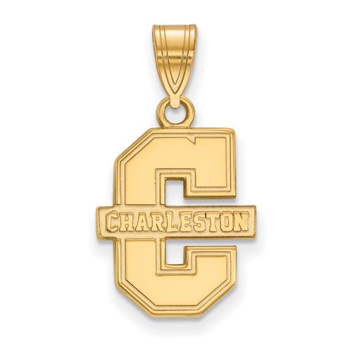 College of Charleston Logo Pendant 5/8in 14k Yellow Gold