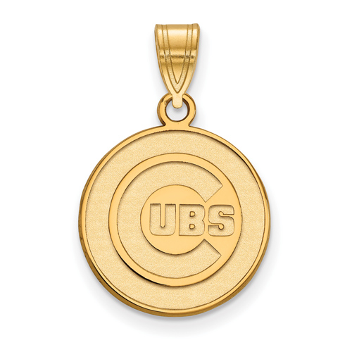 14kt Yellow Gold 5/8in Chicago Cubs Round Laser-cut Pendant