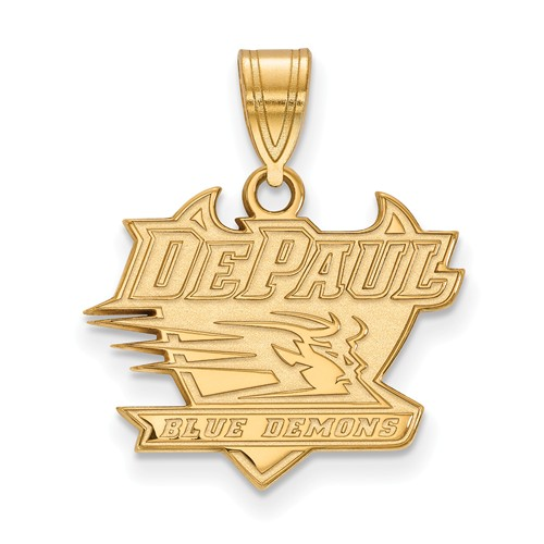 DePaul University Logo Pendant 5/8in 14k Yellow Gold