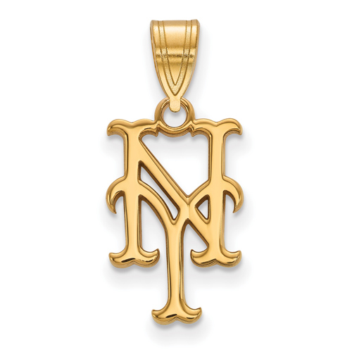10kt Yellow Gold 5/8in Laser-cut New York Mets NY Pendant