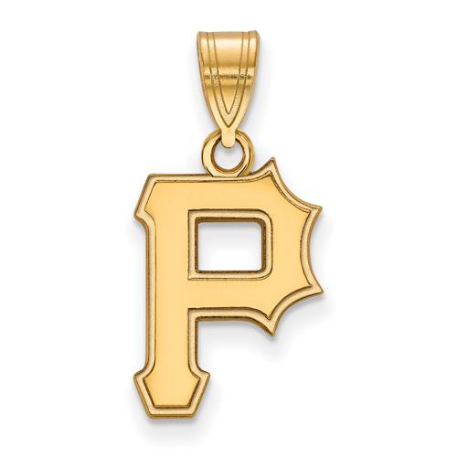 10k Yellow Gold 5/8in Laser-cut Pittsburgh Pirates P Pendant