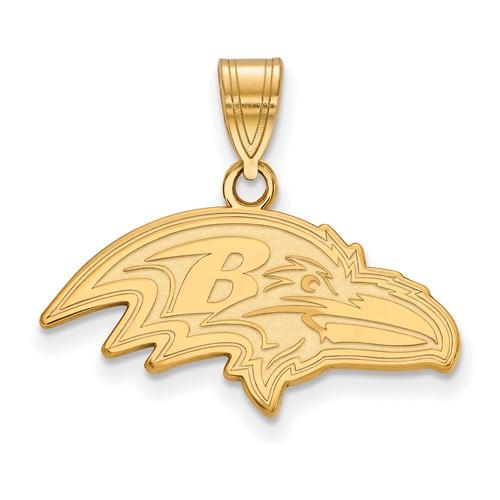 10k Yellow Gold 7/8in Baltimore Ravens Pendant