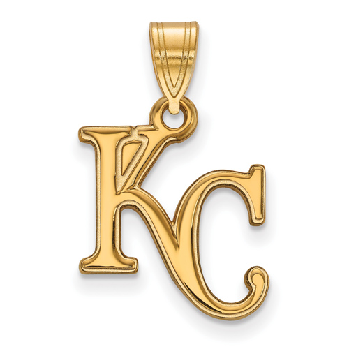 10kt Yellow Gold 5/8in Kansas City Royals KC Logo Pendant