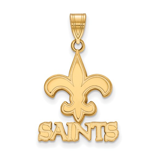 14k Yellow Gold 3/4in New Orleans Saints Pendant