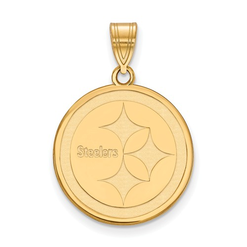 10k Yellow Gold 5/8in Pittsburgh Steelers Round Pendant
