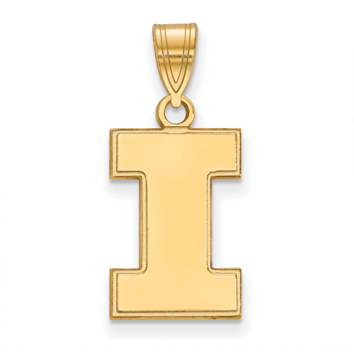 14kt Yellow Gold 5/8in University of Illinois Block I Pendant