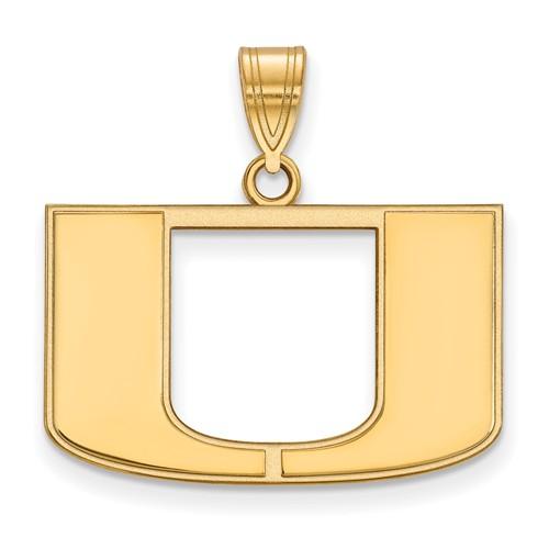 14kt Yellow Gold 5/8in University of Miami U Logo Pendant