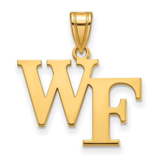 Wake Forest University WF Pendant 5/8in 10k Yellow Gold
