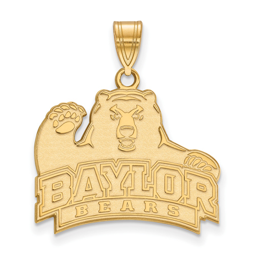 14k Yellow Gold 3/4in Baylor Bears Pendant