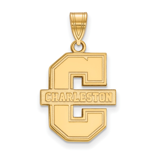 College of Charleston Logo Pendant 3/4in 14k Yellow Gold