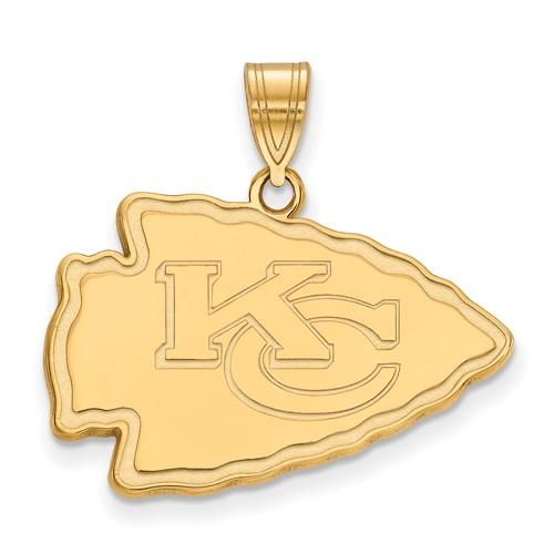 10k Yellow Gold 3/4in Kansas City Chiefs Pendant