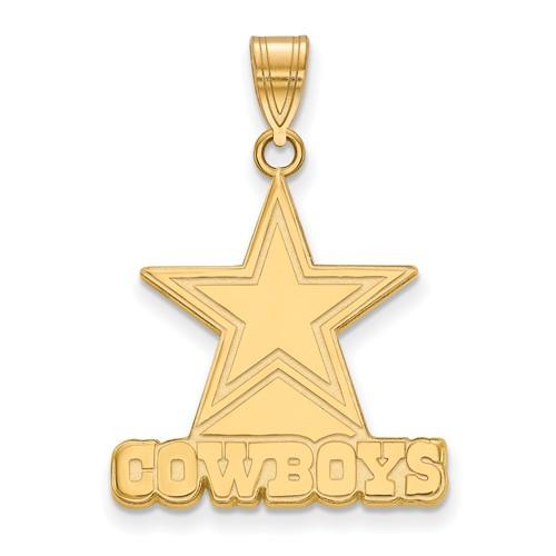 10k Yellow Gold 3/4in Dallas Cowboys Pendant