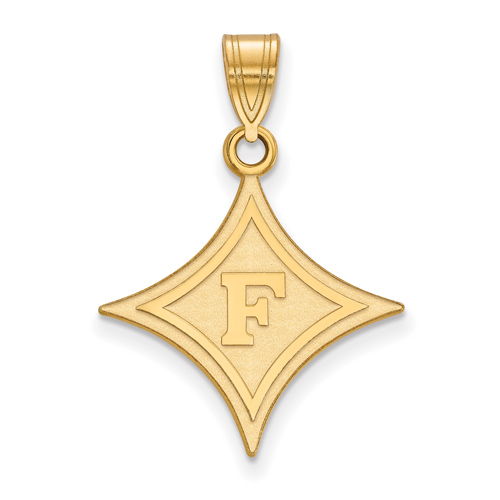 10k Yellow Gold 3/4in Furman University Diamond Pendant