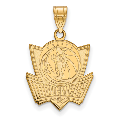 14k Yellow Gold 3/4in Dallas Mavericks Logo Pendant
