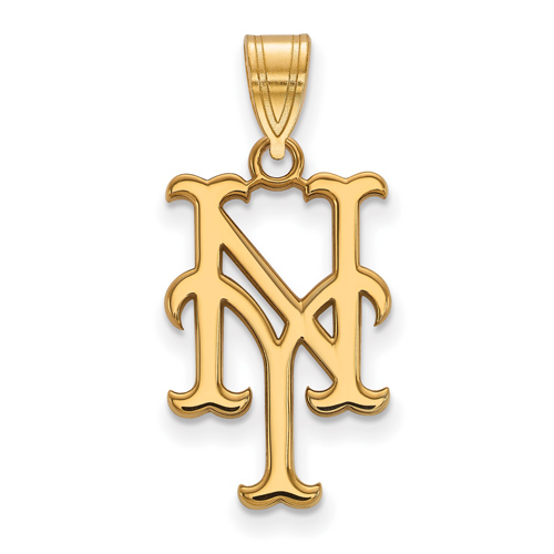 10kt Yellow Gold 3/4in New York Mets NY Pendant
