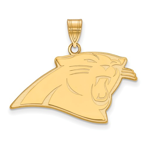 10k Yellow Gold 3/4in Carolina Panthers Pendant