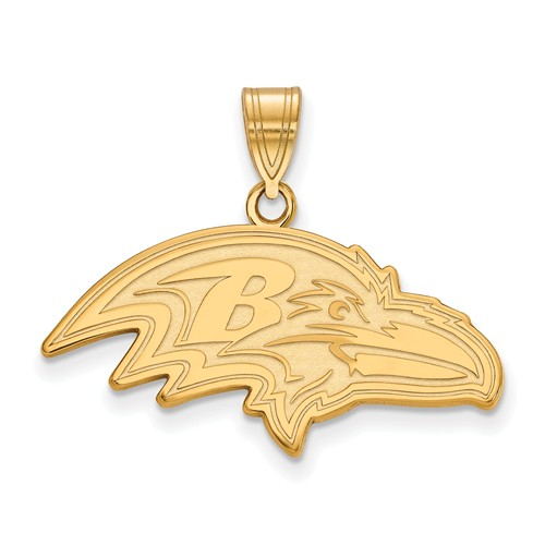 10k Yellow Gold 1in Baltimore Ravens Pendant