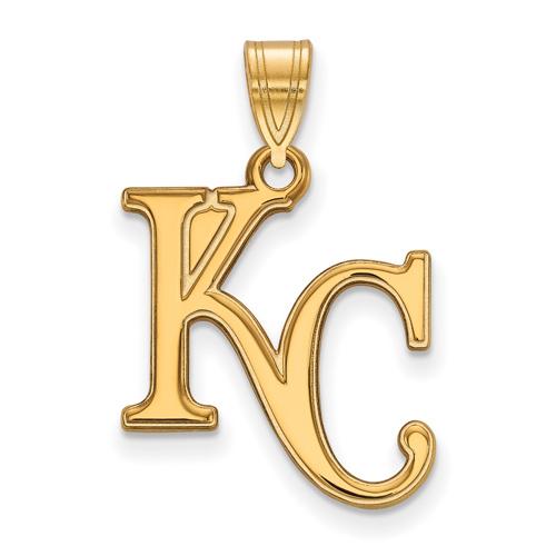 10kt Yellow Gold 3/4in Kansas City Royals KC Pendant