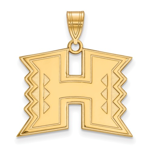 University of Hawaii Logo Pendant 3/4in 10k Yellow Gold