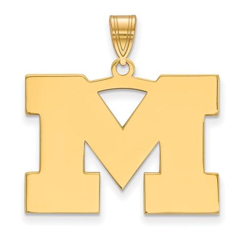 10kt Yellow Gold 3/4in University of Michigan M Pendant