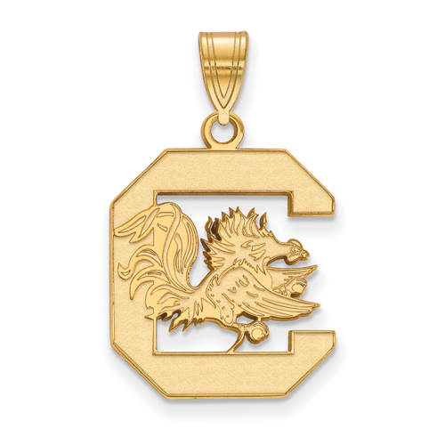 14kt Yellow Gold 3/4in University of South Carolina  Logo Pendant