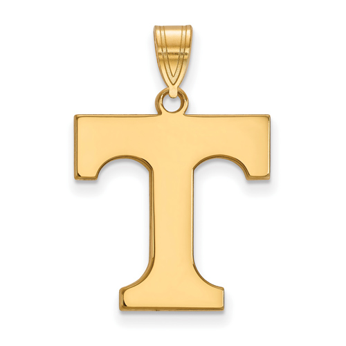 10kt Yellow Gold 3/4in University of Tennessee T Pendant