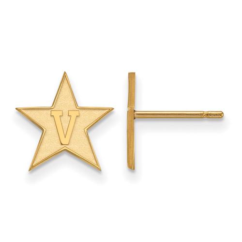 Vanderbilt University Small Post Earrings 10k Yellow Gold