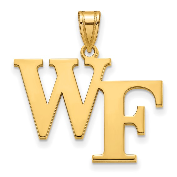 Wake Forest University WF Pendant 3/4in 14k Yellow Gold