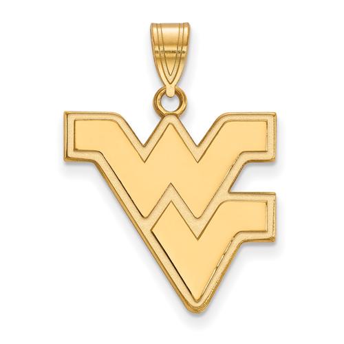14kt Yellow Gold 3/4in West Virginia University WV Pendant