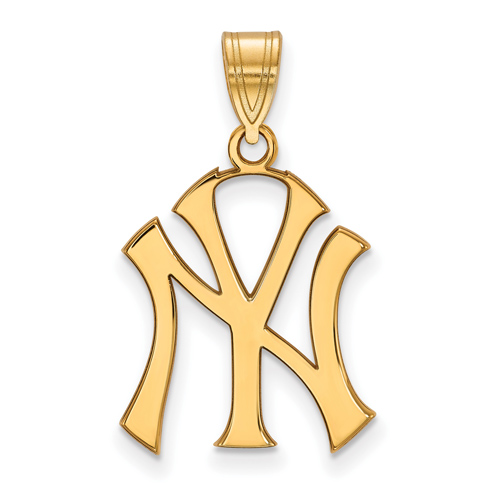 14kt Yellow Gold 3/4in New York Yankees NY Pendant