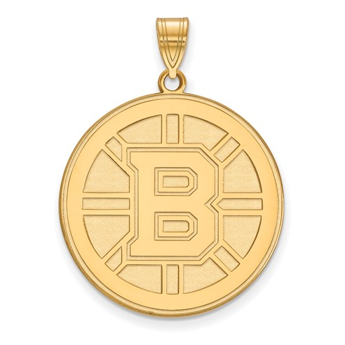 14k Yellow Gold 1in Boston Bruins Round Pendant