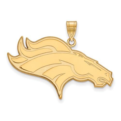 10k Yellow Gold 1 1/2in Denver Broncos Pendant