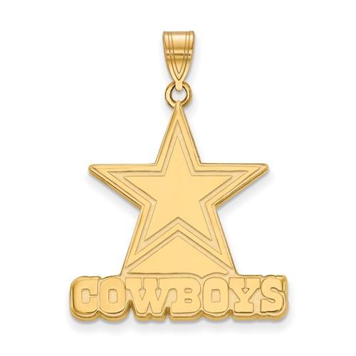 10k Yellow Gold 1in Dallas Cowboys Pendant