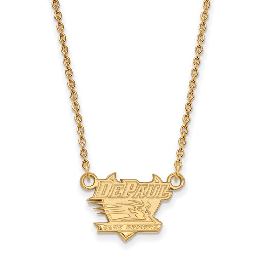 DePaul University Small Pendant on 18in Chain 14k Yellow Gold