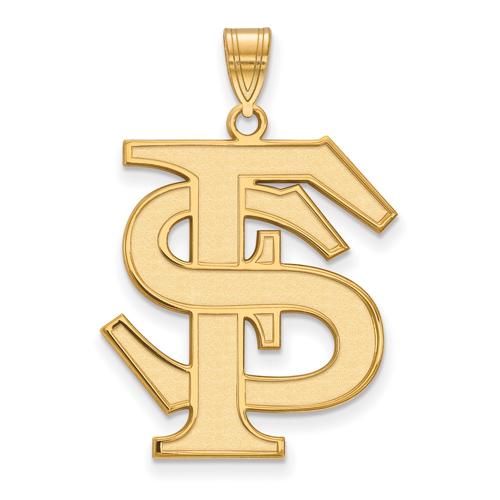 10kt Yellow Gold 1in Florida State University Logo Pendant