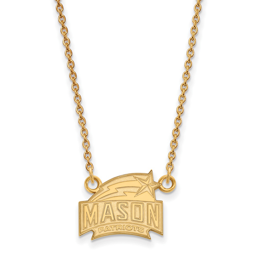 George Mason Univ. Patriots Small Pendant Necklace 14k Yellow Gold