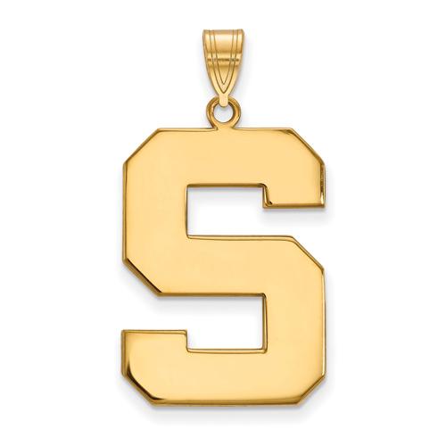 10kt Yellow Gold 1in Michigan State University Block S Pendant