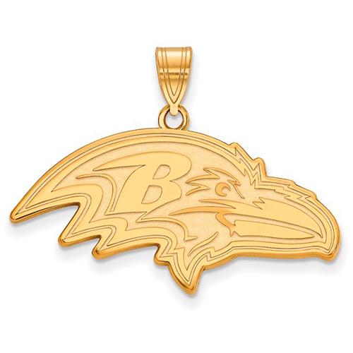 14k Yellow Gold 1 1/3in Baltimore Ravens Pendant