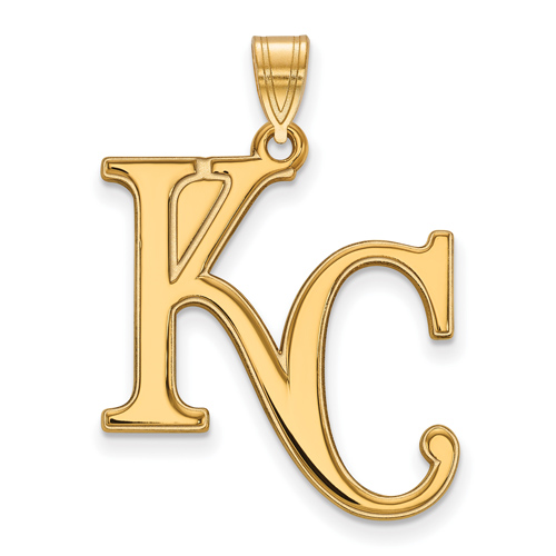 10kt Yellow Gold 1in Kansas City Royals KC Logo Pendant