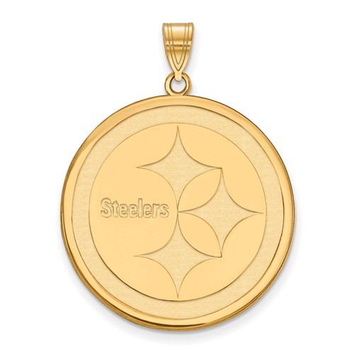 10k Yellow Gold 1in Pittsburgh Steelers Round Pendant