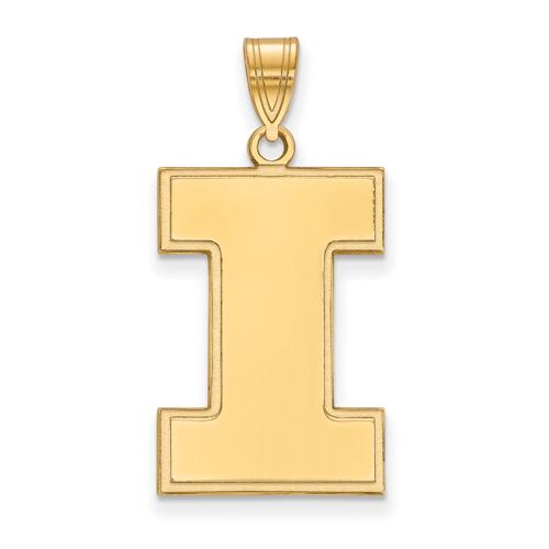 10kt Yellow Gold 1in University of Illinois Block I Logo Pendant
