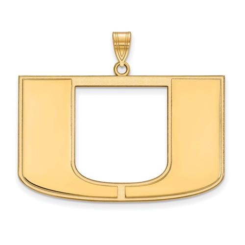 10kt Yellow Gold 1in University of Miami U Logo  Pendant