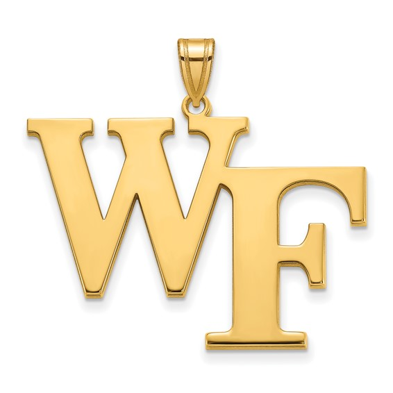 10k Yellow Gold 1in Wake Forest University WF Pendant